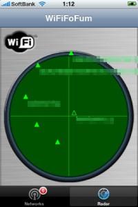 WiFiFoFumのレーダー風の画面